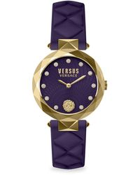 Versus Covent Garden Swarovski Crystal, Goldtone Stainless Steel & Leather Strap Watch - Multicolor