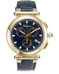 Ferragamo Idillio Stainless Steel & Leather-strap Chronograph Watch - Blue