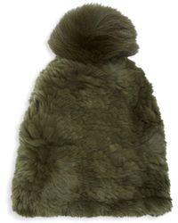 Saks Fifth Avenue Dyed Rabbit & Fox Fur Beanie - Green