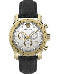 Versace Chrono Sporty Two-tone Stainless Steel & Leather Strap Chronograph Watch - Multicolour