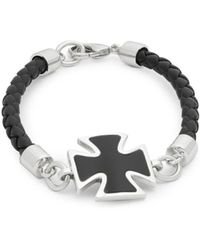 Effy - Onyx, Sterling Silver And Leather Cross Bracelet - Lyst
