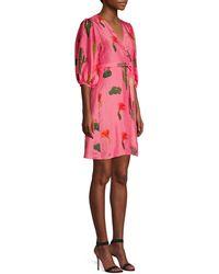 Carolina K Cactus Silk Wrap Dress - Pink