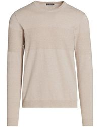 Saks Fifth Avenue Collection Mixed Stripe Crew Jumper - Natural