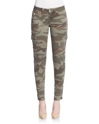 True Religion Women's Camo-print Skinny Cargo Trousers - Olive - Size 24 (0) - Green