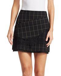 Tanya Taylor Tasia Windowpane Lace Skirt - Black