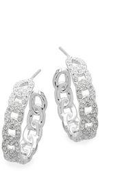 Adriana Orsini Crystal Chain-like Hoop Earrings - Metallic