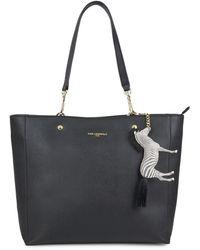 Karl Lagerfeld Women's Zebra-charm Shopper Tote - Black Gold