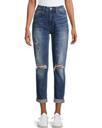 Flying Monkey High-rise Distressed Mom Jeans - Blue
