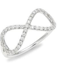 Roberto Coin Women's Tiny Treasures 18k White Gold & Diamond Infinity Ring/size 6.5 - Size 6.5 - Metallic