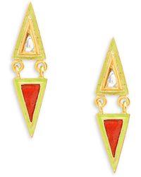 Legend Amrapali 18k Yellow Gold, Enamel & Diamond Drop Earrings - Multicolor