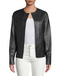 DKNY - Flap Pocket Leather Jacket - Lyst