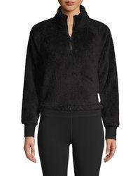 Calvin Klein Women's Raglan-sleeve Fleece Pullover - Cloud - Size Xxl - Black
