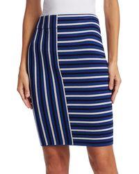 Akris Punto Square Stripe Wool Knit Pencil Skirt - Blue