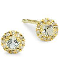 Meira T - 14k Yellow Gold, Diamond & White Topaz Stud Earrings - Lyst