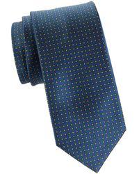 Brioni Geometric-print Silk Tie - Blue