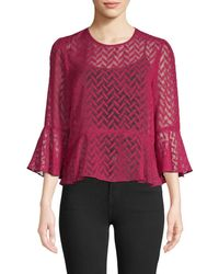 BCBGMAXAZRIA Women's Printed Bell-sleeve Top - Beet Red - Size Xs