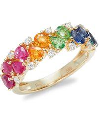 Effy 14k Yellow Gold Multi-stone Cluster Ring - Metallic
