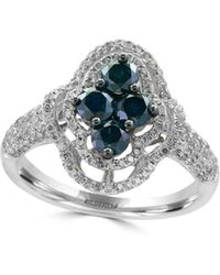 Effy - Blue Diamond & 14k White Gold Floral Solitaire Ring - Lyst