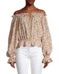 Dress Forum Women's All In Bloom Off-the-shoulder Top - Pink Rose - Size M