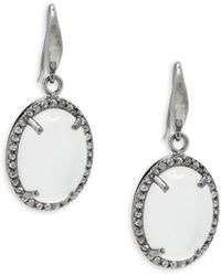 Bavna - Moonstone Champagne Diamonds Drop Earrings - Lyst