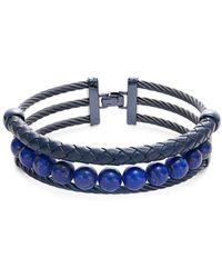 Alor Men's Lapis, Blue Stainless Steel & Leather Bracelet