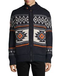 Superdry - Faux Fur-lined Fair Isle Full-zip Sweater - Lyst