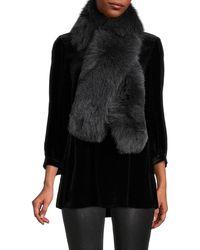 Loro Piana Women's Shadow Fox Fur Scarf - Caviar - Black