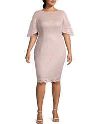 Adrianna Papell Plus Lace Sheath Dress - Pink