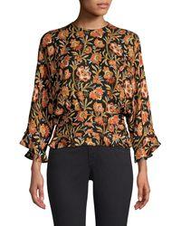 Derek Lam Short-sleeve Indian Floral Print Ruffled Blouse - Black