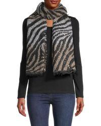 Vince Camuto Embellished Zebra-print Scarf - Black