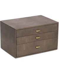 Bey-berk 3-level Textured Leather Jewellery Box - Brown