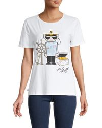 Karl Lagerfeld Women's Logo Short-sleeve T-shirt - White - Size Xxs