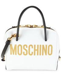 Moschino Women's Logo Leather Dome Satchel - White