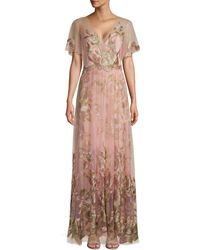 Marchesa Flutter-sleeve Embroidered Tulle Gown - Pink