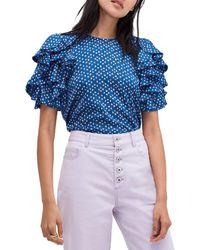 Kate Spade Geometric Ruffle-sleeve Top - Blue