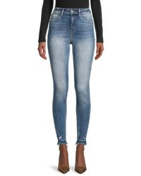 Flying Monkey High Rise Distressed Skinny Jeans - Blue