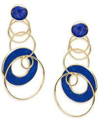 Ippolita Women's Rock Candy® 18k Yellow Gold & Lapis Interlinked Hoop-drop Earrings - Blue