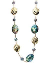Alexis Bittar Goldplated 17mm Freshwater Peacock Pearl & Abalone Shell Station Necklace - Multicolour