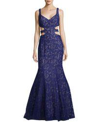 La Femme - Jacquard Floral Cutout Mermaid Gown - Lyst