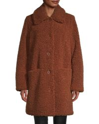 Pure Navy Faux Fur Coat - Brown