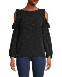 Maje Printed Cold-shoulder Top - Black