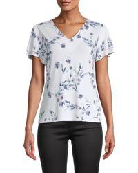Calvin Klein Floral Tiered-sleeve Top - White
