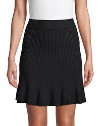 Free People Ribbed Cotton-blend Skirt - Black