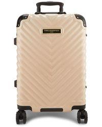 Karl Lagerfeld Georgette 22-inch Chevron Hard Shell Luggage - Grey
