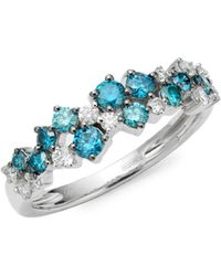 Effy 14k White Gold & White & Blue Diamond Ring - Multicolour