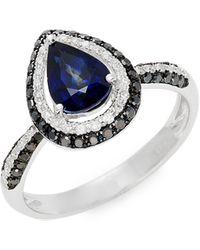 Effy 14k White Gold, Sapphire & White & Black Diamond Ring