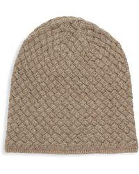 Portolano Basket Weave Cashmere, Silk & Wool Beanie - Brown