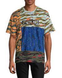 French Connection Logo Patchwork Camo T-shirt - Blue