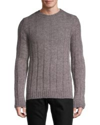 Valentino Men's Ribbed Mohair-blend Jumper - Pink Grey - Size S
