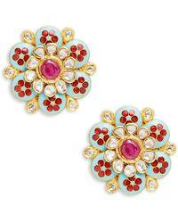 Amrapali 18k & 22k Yellow Gold, Ruby & Diamond Earrings - Metallic